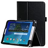 Samsung Galaxy Tab E 9.6 Case - iHarbort Ultra Slim Lightweight shell Holder Stand Leather Case Cover with hand strap and card slots for Samsung Galaxy Tab E 9.6 Inch SM-T560 T561 T565 T567, Black