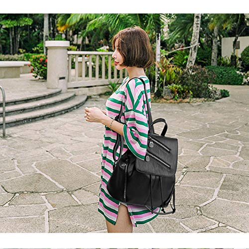 Rucksack Fashion Ladies Leather Backpack Black Girls Travel Backpack 4 PU Shoulder bag Leather Women Bag AggRExS