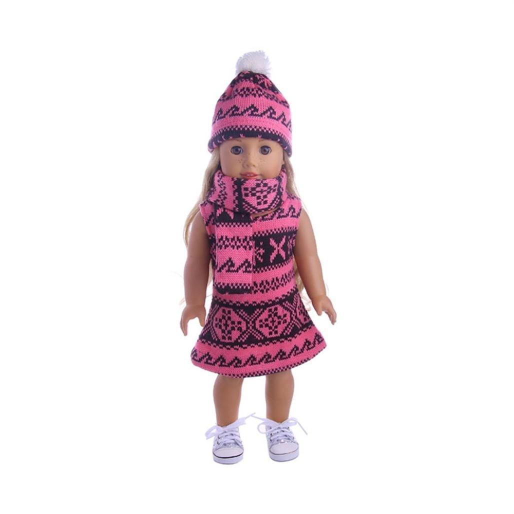 3pc puppe kleidung , YUYOUG Rock & Hat & Schal Dreiteiliger Anzug FüR 18 Zoll Unsere Generation American Girl Doll Und Andere 43-46 Cm Puppen (A)