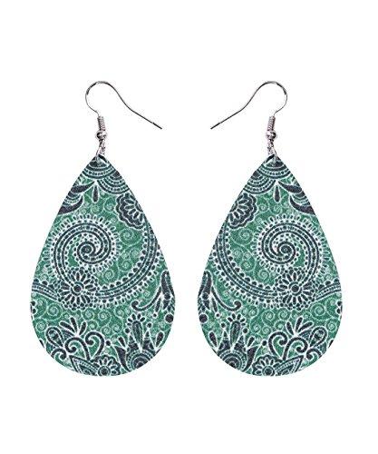 - Bohemia Vintage Leather Teardrop Leaf Dangle Pierced Earrings Jewelry (Green)