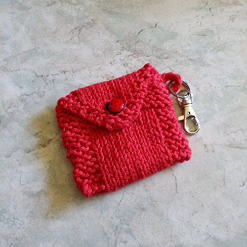 Carry Case Multi-Purpose. Hand Knit Cotton Fabric with Lucky Ladybug Button 3 1/2 in. by 3 3/4 in