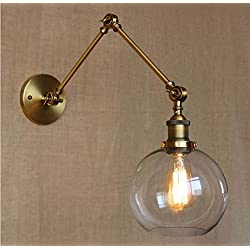 MYY Vintage Industrial Wall Lamp Round Glass Shade Adjustable Swing Arm Retro Style Antique Bedside Decor Lighting Fixture