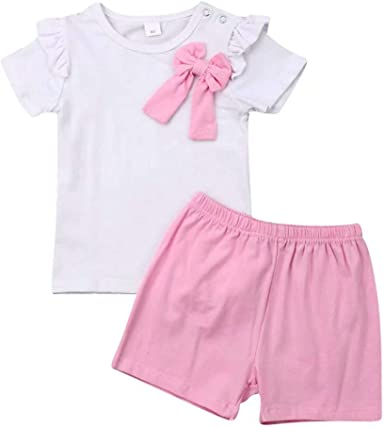 Casual Toddler Kids Infant Summer Tops T-Shirt Shorts Solid Sets Outfits Clothes