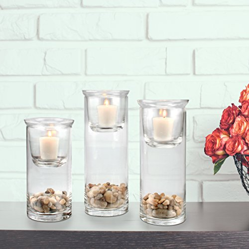 and Bedroom Living Room Traditional Home Decor for Dining Room Decorative Centerpiece CKK H-07-7007A06 Stonebriar Cylinder Glass Hurricane Set with Removable Votive Candle Holder Inserts