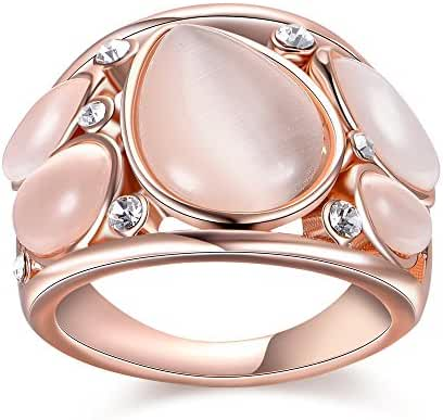 Mytys Charming Rose Gold Plated Crystal With White Oval Stone Wide Ring Jewelry(7)