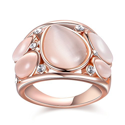 Mytys Charm Rose Gold White Oval Opal Cat Eye Stone Crystal Fashion Cocktail Ring Jewelry (8)