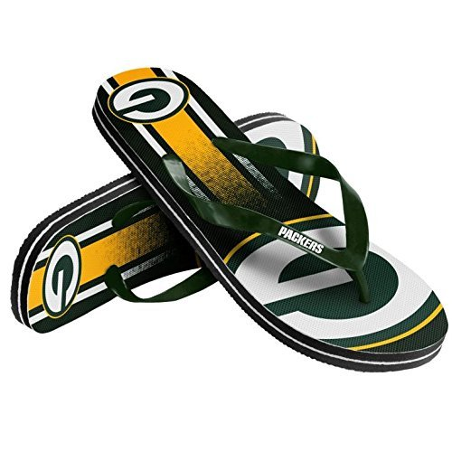 Flops Flip Team (Forever Collectibles NFL Football Unisex Gradient Big Logo Beach Summer Flip Flop Sandals - Pick Team (Green Bay Packers, X-Small))