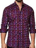 Mens Designer Dress Shirt - Stylish & Trendy- Color Check Pink - Tailored Fi