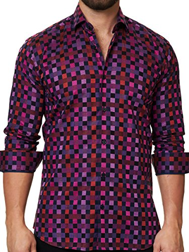 Collar Cotton Italian Dress Shirt (Maceoo Mens Designer Dress Shirt - Stylish & Trendy- Check Pink - Tailored Fit)