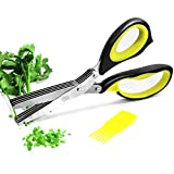 Warmhoming Herb Scissors with 5 Stainless Steel Blades - Green and Black