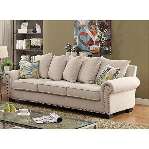 Furniture of America Belinda Fabric Sofa in Ivory