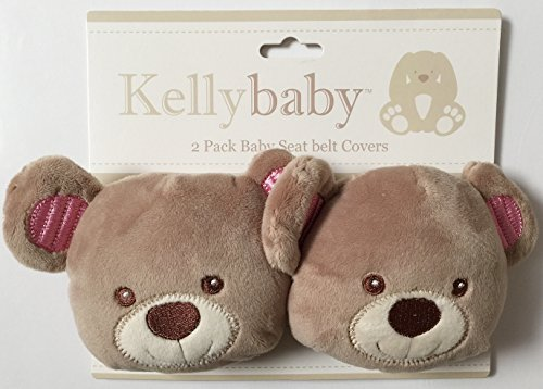 Kellybaby 2 Pack Baby Seat Belt Covers, Pink Bear by Kelly Baby