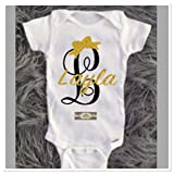 Baby Girl Gold Glitter Personalized With Fancy Monogram Onesie, Any Size, Name, Letter