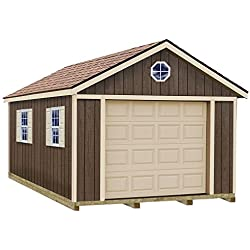 Sierra 12 ft. x 24 ft. Wood Garage Kit with Sturdy Built Floor