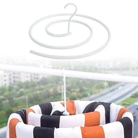 Drying Rack Spiral Shaped Hanger Rotating Storage Rack Blanket Rack Space Saver White