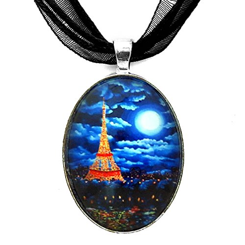 Laura Milnor Iverson Paris at Midnight Lit Up Eiffel Tower Necklace Blue Moon Handmade Jewelry Art Pendant ()