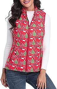 fuinloth Women's Quilted Vest, Stand Collar Lightweight Zip Padded G