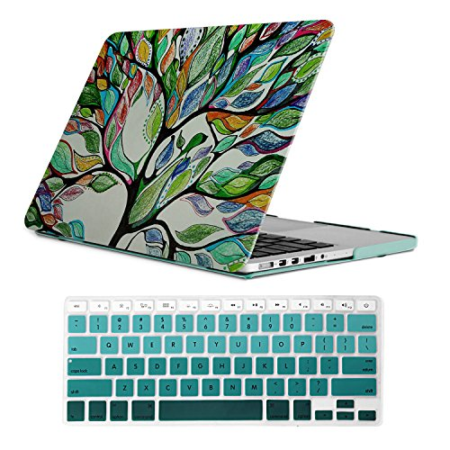 Hinge Plastic Cover (iCasso Macbook Old Retina 13 Inch Case Art Printing Matte Hard Shell Plastic Protective Cover For Macbook Pro 13 Inch Retina No CD-ROM Model A1425/A1502 With Keyboard Cover (Life Tree))