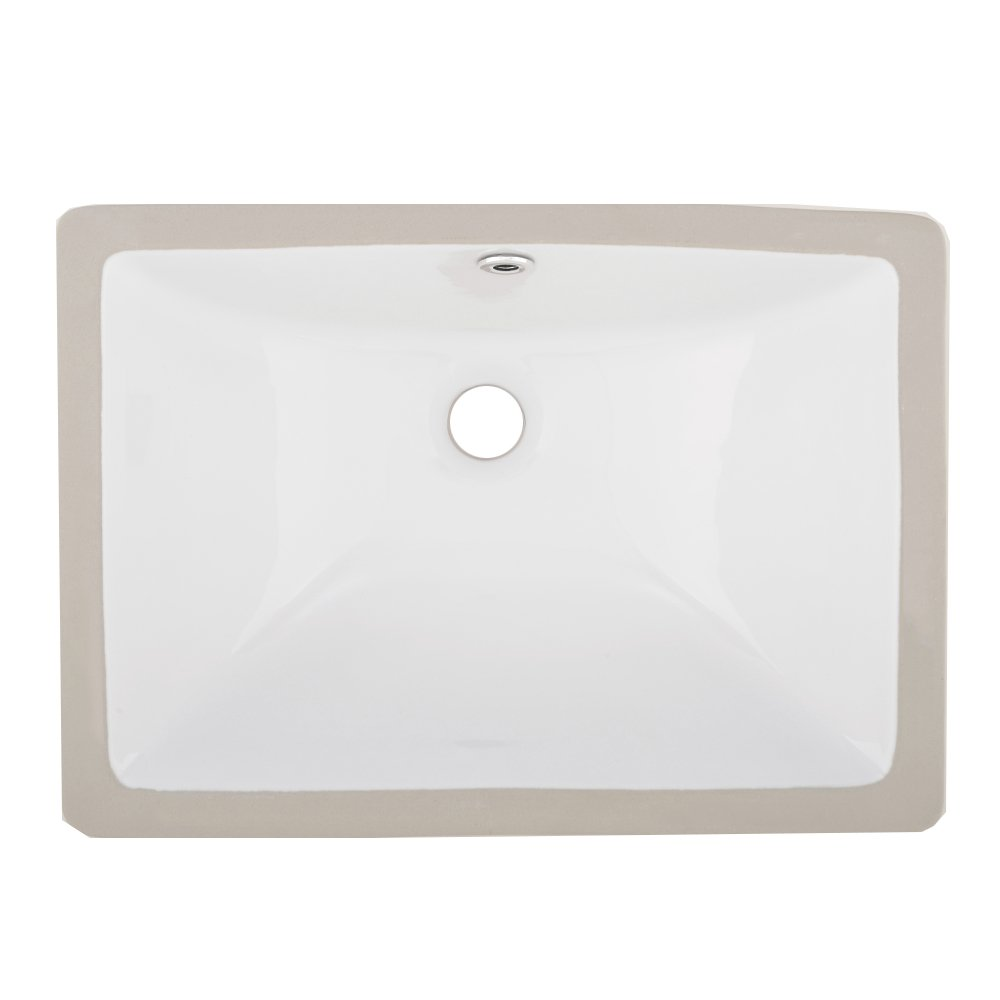 VAPSINT Rectangular Porcelain Undermount White Ceramic Art Basin Bathroom Sink, Vanity Sink with Overflow by VAPSINT