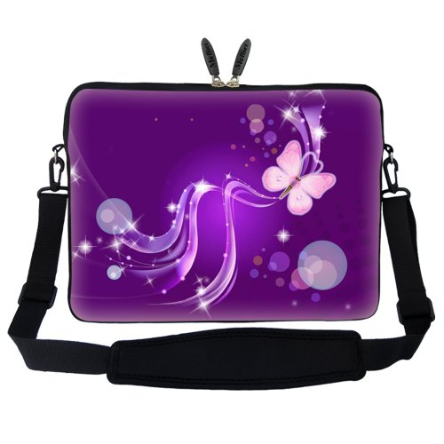 15 Shoulder with Strap Adjustable Portable Computer Sleeve Handle inch 15 Swirl Laptop Bag 6 Purple and Hidden Case Neoprene Butterfly Carrying 1rBqa1xw