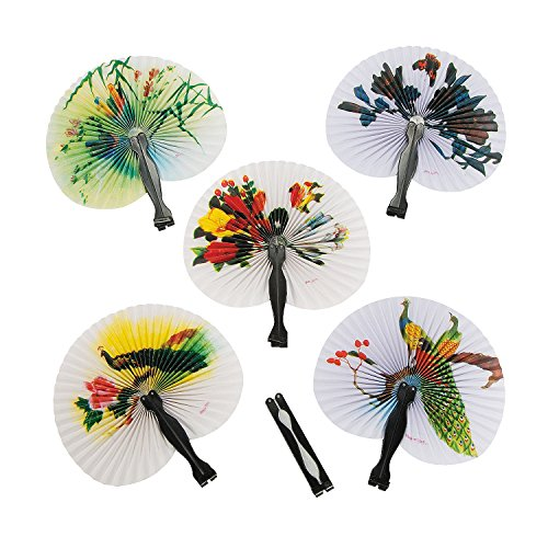 Fun Express Mini Oriental Folding Fans - 12 Pieces (Favor Oriental Party)