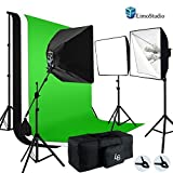 LimoStudio Photo Video Studio 2400W Soft box Boom Lighting Kit with Photography Studio Chroma key Green