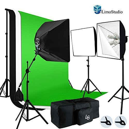 LimoStudio Photo Video Studio 2400W Soft box Boom Lighting Kit with Photography Studio Chroma key Green by LimoStudio