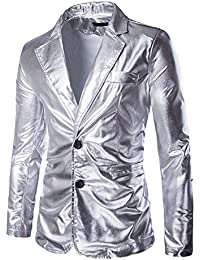 2ed5c89c9 Mens Slim Fit Shiny Metallic Two Button Suit Jacket/Night Club Blazer