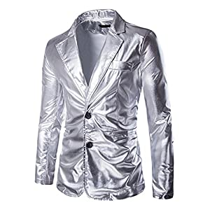 ZEROYAA Mens Slim Fit Shiny Metallic Two Button Suit Jacket/Night Club Blazer