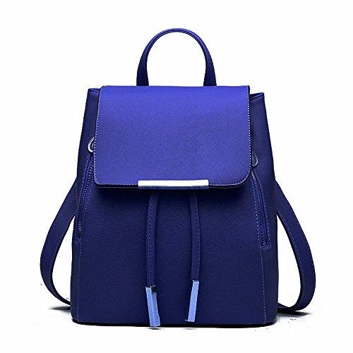 - Huabor Fashion Shoulder Bag Rucksack PU Leather Women Girls Ladies Backpack Travel bag (Blue)