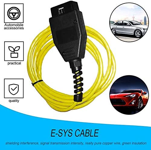 Yellow Ethernet to OBD Interface Cable E-SYS ICOM Coding F-Series for BMW ENET 2M