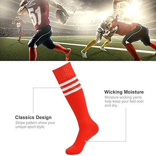white pair Soccer Stripe Red Triple nbsp;paires 10 Rayures Athletic 3street 2 Unisexe Montantes De Chaussettes Tube 6 6 46awHxAqnH