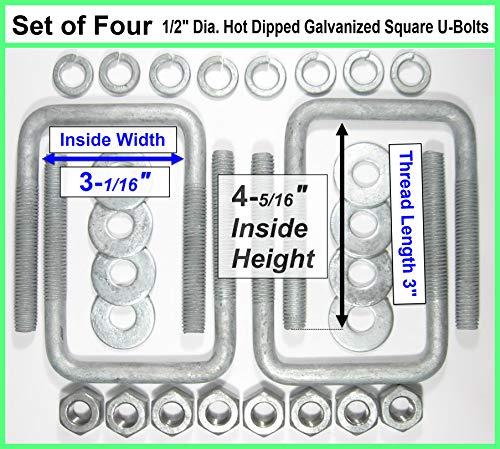 (4) HDG Hot Dipped Galvanized Square U-Bolt Boat Trailer U bolt Ubolt 1/2