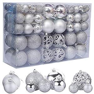 ZFYQ 100Pcs Palle di Natale, Set di Palline Decorative da Appendere per Decorazioni Natalizie per L'Albero, Argento 6 spesavip