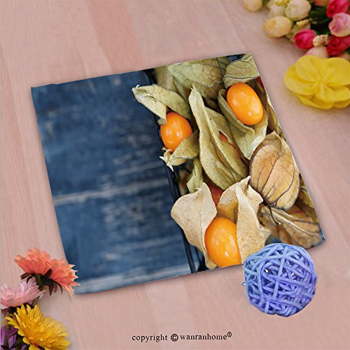 VROSELV Custom Cotton Microfiber Ultra Soft Hand Towel-Top view on the physalis fruit in a black basket_ Custom pattern of household products(14