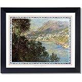 Claude Monet Tuscan Village Lake Wall Decor Landscape Picture Black Framed Art Print