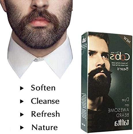 Zehui Crema de Tinte para Bigote y Barba de los Hombres, Crema Tinte para Barba Negra y Color Natural con 1 par de Guantes Desechables, Belleza de los ...