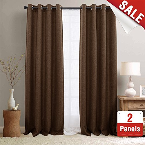 - 2 Panel Blackout Curtains Brown 84 inch Bedroom Linen Textured Curtains Room Darkening Window Curtains Grommet Blackout Drapes for Living Room