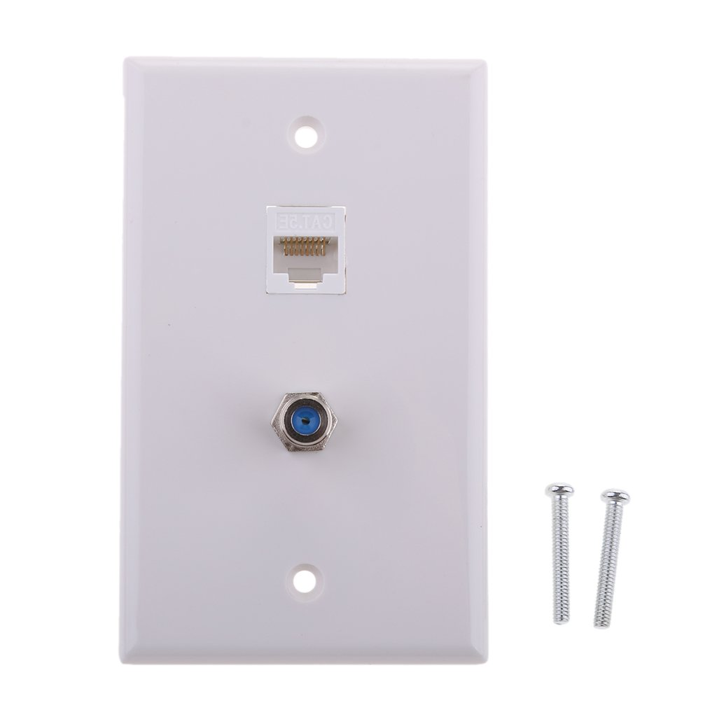 MonkeyJack F Type Coaxial Connector Ethernet Wall Plate RJ45 Socket Outlet Mounted Board Replacement
