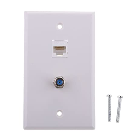MonkeyJack Ethernet Coax RJ45 Coaxial F Type Wallplate Jack Socket Outlet Cover Panel