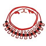 Olycism Elastic Clothesline Portable Travel Adjustable Clothesline Retractable with 12pcs Clothespins and 13 pieces black stoppers Lightweight Household for Outdoor or Indoor 70 inch-red