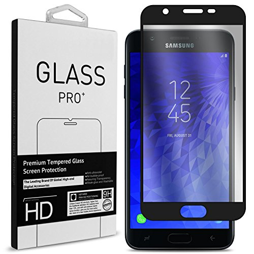 Samsung Galaxy J7 V 2nd Generation Screen Protector, Galaxy J7 Refine/Galaxy J7 2018 / J7 Star / J7 Aero / J7 Crown Screen Protector, CoverON Full Coverage Tempered Glass - Clear with Black Rim