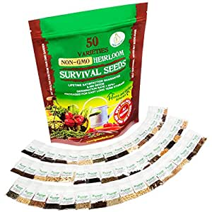 HEIRLOOM SEEDS NON GMO VEGETABLE SEED KIT - 50 Varieties 100% Natural Non-Hybrid - Best For Gardeners Who Want to Raise Their Own Healthy Food - You Can Grow Fresh Tasty Vegetables Even As a Beginner
