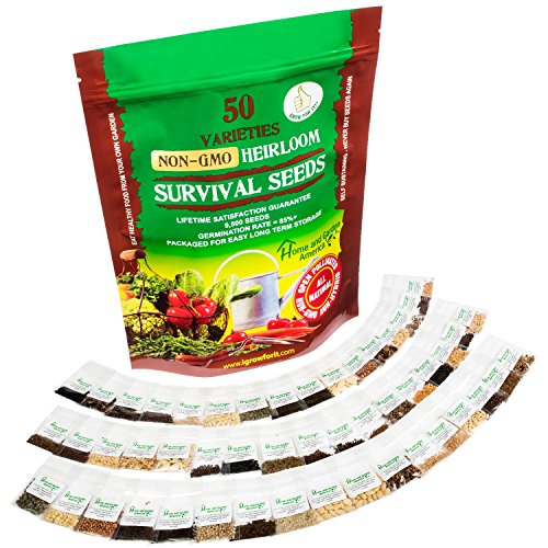 Heirloom Vegetable Seeds Non GMO Survival Seed Kit - Part of Our Legacy and Heritage - 50 Varieties 100% Naturally Grown - Best For Gardeners Who Raise Their Own Healthy Food
