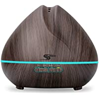 Aroma Essential Oil Diffuser, Simway Aromatherapy 400mL Ultrasonic Cool Mist Aroma diffuser Humidifier with Waterless Auto Shut-off, 7 color LED lights for Bedroom Living Room Spa Baby - Wood Grain