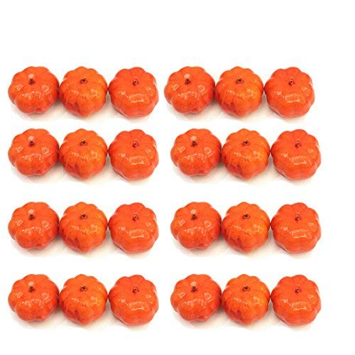 Small Pumpkins - Kbraveo 30pcs Lifelike and Realistic Artificial Fall Harvest Mini Pumpkins for Decorate and Party