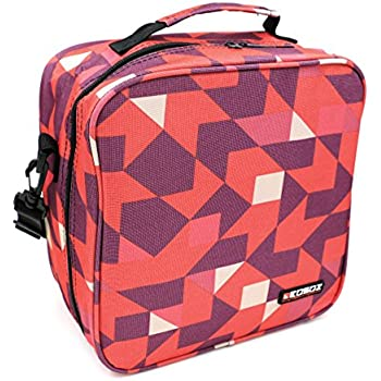 KOSOX Oxford Square Insulated Lunch Tote Picnic Cooler Bag with Shoulder Strap, Unisex Thermal Insulation Lunch Bag for Babys Kids Teens Adults School Office (Rose Red)