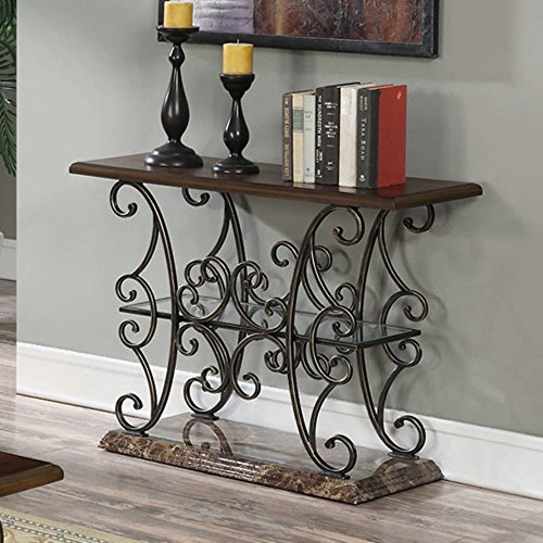 coaster-1-shelf-console-table-in-merlot-and-gold-brushed-bronze