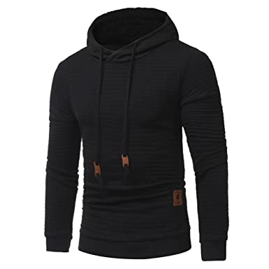 e7f336522 SHDAS Men's Casual Slim Fit Hoodie Square Pattern Quilted Pullover Hooded  Sweatshirt