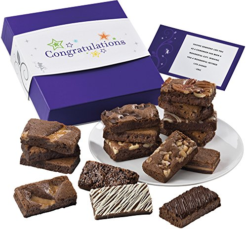Fairytale Brownies Congratulations Sprite 16 Gourmet Food Gift Basket Chocolate Box - 3 Inch x 1.5 Inch Snack-Size Brownies - 16 Pieces